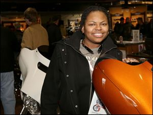 Kenya Byrd, of West Toledo, attended the Harley-Davidson Spring Fling at the Toledo Harley-Davidson.
