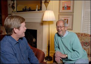 Writer Elmore Leonard, right, and his novelist son, Peter Leonard.