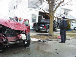 Toledo police are on the scene of a crash at 870 Hamilton Street in central Toledo.