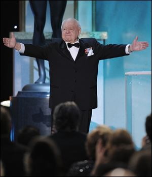 Mickey Rooney takes the stage to make an award presentation at the 14th Annual Screen Actors Guild Awards in January, 2008, in Los Angeles.