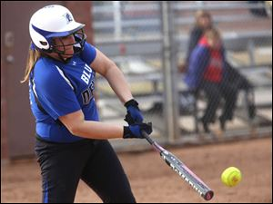 Springfield's sophomore Lexi Buck (19) connects with the ball during the bottom of the third inning.