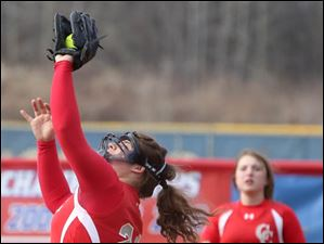 Central Catholic's third baseman senior Ashley Erd makes the catch during the bottom of the second inning.