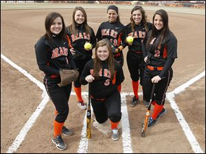 Gibsonburg seeks another TAAC title with top players, front, Samantha Hannigan, and back from left, Alyssa Escobedo,  Lyndsey Perales, Elena Mancha, Marisa Alvarado, and Filomena Mendoza.
