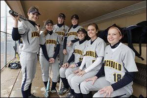 Archbold shared the NWOAL title last season and looks to win it again with, from left, Jesse Fidler, Paige Peterson, Becca Gerig, Cassidy Williams, Cassidy Wyse, Desi Newman, and Jen Gerken.