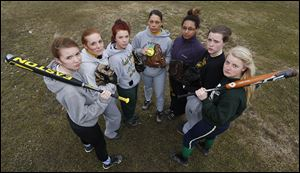 Start is the favorite in the City League softball race this year with, from left, Megan Losh, Chelsey Lautzenheiser, Dani Hamann, Chelsie Randolph, Jasmine Lawler, Cassidy Wilson, and Halie Kinor.