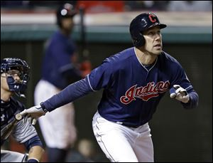 Cleveland Indians' David Murphy watches his three-run home run off San Diego Padres starting pitcher Tyson Ross in the fourth inning.