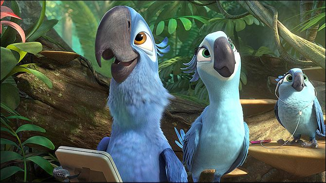 RIO 2 Blu (Jesse Eisenberg), Jewel (Anne Hathaway), and their music-loving daughter, Carla (Rachel Crow), enjoy the exotic sounds of the jungle.