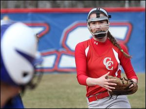 Central Catholic's junior Lauren Best lets the ball fly during the bottom of the first inning.