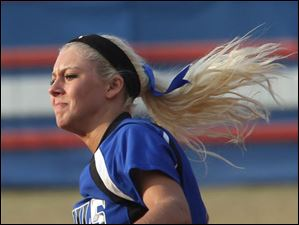 Springfield's senior Lauren Yates took over pitching in the top of the fifth.