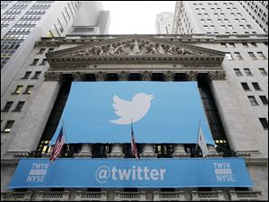 A banner with the Twitter logo hangs on the facade of the New York Stock Exchange in New York the day after the company went public in November.