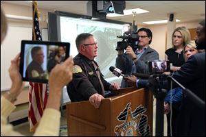 Kalamazoo County Sheriff Richard Fuller speaks during a news conference in Kalamazoo, Mich. today. Fuller said an autopsy determined that a body found in an Indiana lake is that of Teleka Patrick.