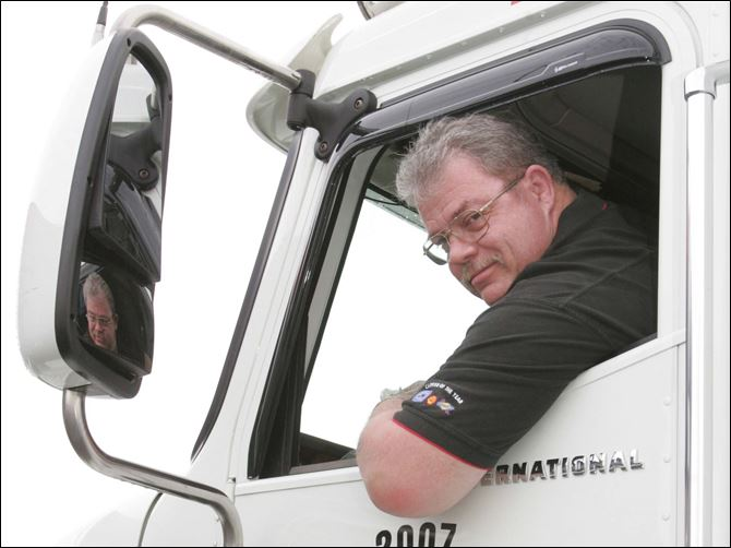 NBR alltrucker28p hawksins jr Ron Hawkins, Jr., a 1976 alumnus of Start High School, says drivers need to give large vehicles plenty of room on the highway.