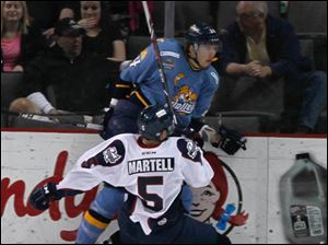 Walleye player is undeterred by Kings #5, Brandon Martell.