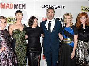 Kiernan Shipka, Jessica Pare, Elisabeth Moss, Jon Hamm, January Jones, and Christina Hendricks attend the AMC celebration of the 'Mad Men' Season 7 premiere April 2 in Hollywood, Calif.