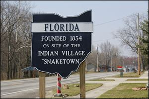 A sign marks the entrance to Florida, Ohio, a community of 230 people in Henry County and one of the communities along the old U.S. 24.