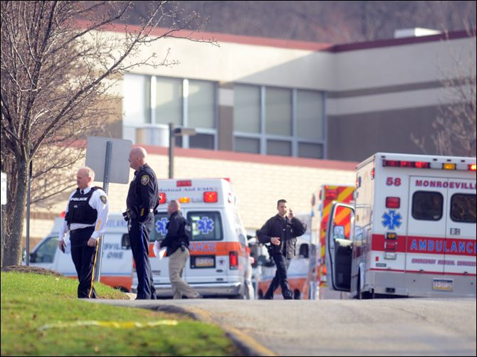 Stabbing at Franklin regional Officials outside of Franklin Regional High School. Five people were stabbed at the start of the school day Wednesday morning.