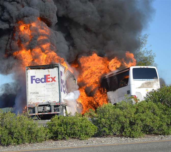 APTOPIX-California-Bus-Crash-flames