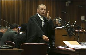 State prosecutor Gerrie Nel, questions Oscar Pistorius in court today in Pretoria, South Africa.