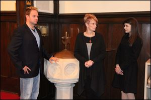 From left, Matthew Kizaur, Barbara Barkan, and Elizabeth Cottle star in 'Doubt, A Parable.'