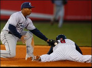 Ezequiel Carrera steals second base against Columbus Clippers second baseman Jose Ramirez.