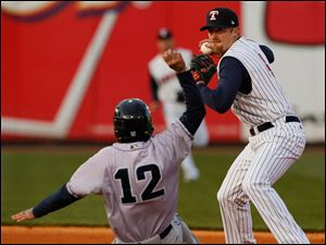 Second baseman Danny Worth turns a double play on Columbus Clippers SS Justin Sellers.