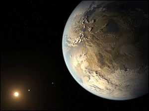 This artist's rendering  shows an Earth-sized planet dubbed Kepler 186f orbiting a star 500 light-years from Earth.
