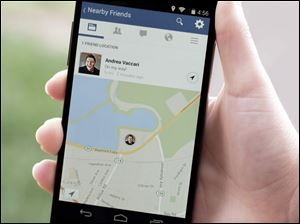 "A product image provided by Facebook shows the ""Nearby Friends""  tool."