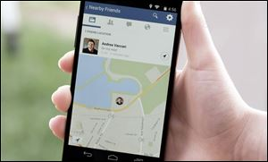 "A product image provided by Facebook shows the ""Nearby Friends"