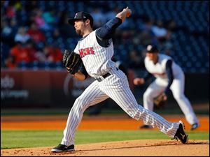 Toledo pitcher Robbie Ray fires in a pitch against the Columbus Clippers in the first inning.