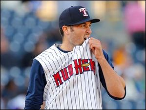 Toledo pitcher Robbie Ray reacts after giving up a two run homer to the Clippers' Jose Ramirez during the third inning.