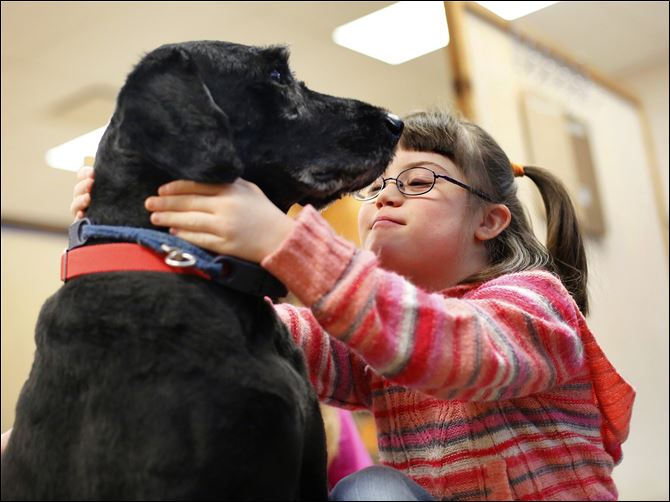 MAG kramer25p Janae O'Neal Janae O'Neal, 9, strokes Kramer, the resident pooch at Wauseon Middle School who spends his days visiting offices and classrooms.