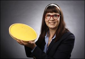 Susan Allan Block with a lemon tart she made.