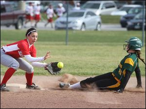 Clay's Baleigh Bocook slides into second to beat Bowling Green's Anna Szabo.