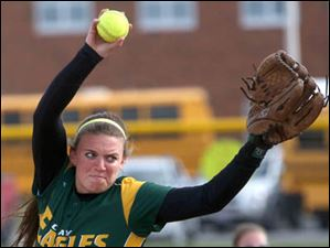 Clay's Danielle Lorenzen winds up before delivering the pitch