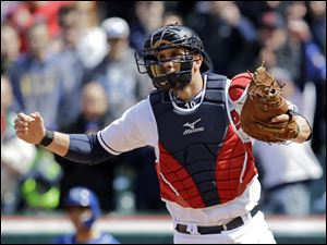 Cleveland Indians catcher Yan Gomes celebrates after the final out.