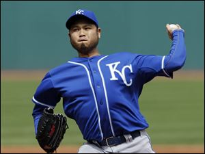 Kansas City Royals starting pitcher Bruce Chen delivers a pitch.