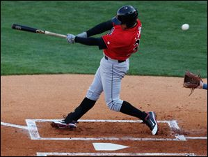 Indianapolis' designated hitter Andrew Lambo swings and misses during the 2nd inning at Fifth Third Field Wednesday.