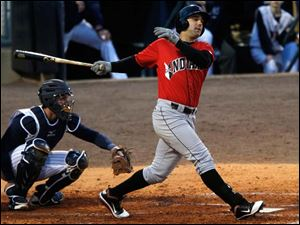 Indianapolis' Andrew Lambo swings at a pitch from the Mud Hens.