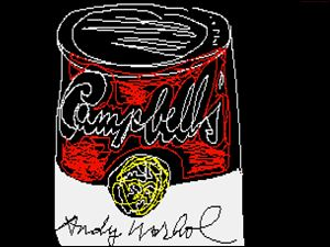 Campbell's soup cans are an iconic Andy Warhol image.  The artist, who was born in Pittsburgh and is buried there, stored this image on a floppy disk.