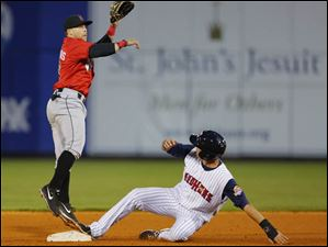 Hernan Perez steals second against Indianapolis Indians player Adelberto Santos.