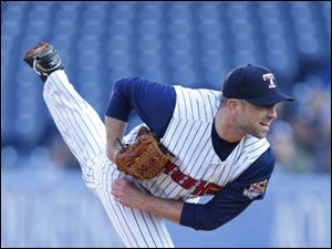 Toledo Mud Hens starting pitcher Duane Below fires in a pitch against the Indianapolis Indians during the first inning.