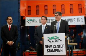 U.S. Treasury Secretary Jack Lew speaks during a visit to the New Center Stamping facility today in Detroit.