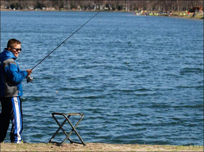 Sylvania Towhship resident Clark Gibney, 11, fishes during the 24th Annual Kids Trout Derby.