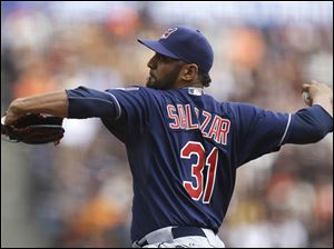 Cleveland Indians' Danny Salazar works against the San Francisco Giants in the first inning.