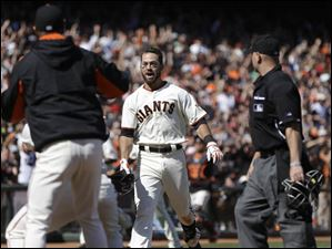 San Francisco Giants' Brandon Hicks celebrates after hitting the game-winning home run in the ninth-inning.