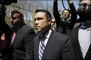 U.S. Rep. Michael Grimm leaves federal court in New York, today.