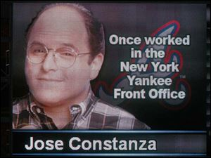 The Mud Hens had a little fun on the score board by substituting Gwinnett's Jose Constanza's image and background with George Costanza's image from 'Seinfeld.'