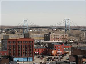 A view of the bridge: the High-Level, rear, and the warehouse district of Toledo. The establishment of the city's fourth community-entertainment district was proposed Monday.