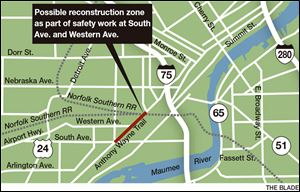 Map of Anthony Wayne Trail reconstruction zone.