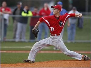 Central Catholic's Chad Kuebler pitches against St. Francis.